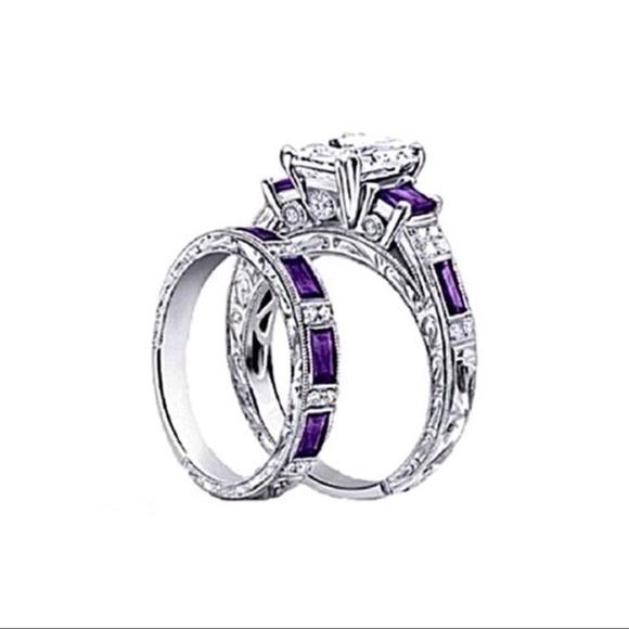 Jewelry - ✤ Purple CZ Princes Cut Wedding Set
